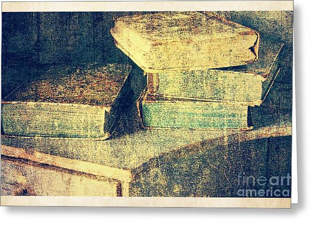 Stacks Of Books Greeting Cards - Antique Books Still Life Greeting Card by Heiko Koehrer-Wagner
