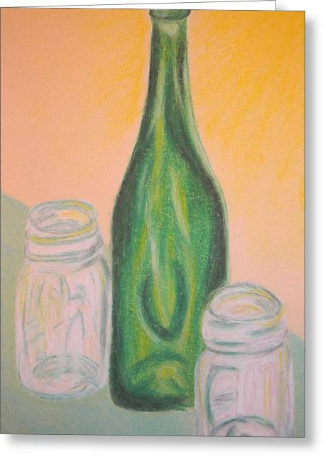 Wine-bottle Pastels Greeting Cards - Antique Bottle and Jars Greeting Card by Emily Ruth Thompson