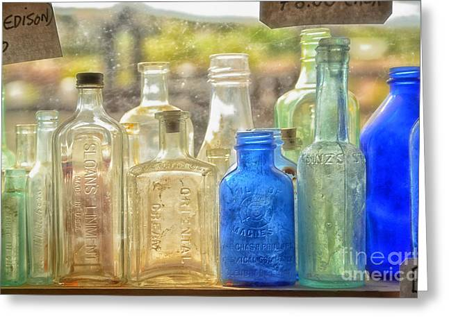 Antique Bottles Greeting Card by Tamera James