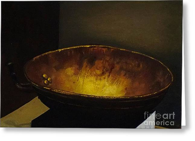 Rivets Paintings Greeting Cards - Antique brass bowl Greeting Card by Mitzisan Art LLC