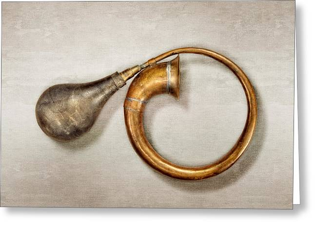 Antique Brass Car Horn Greeting Card by YoPedro