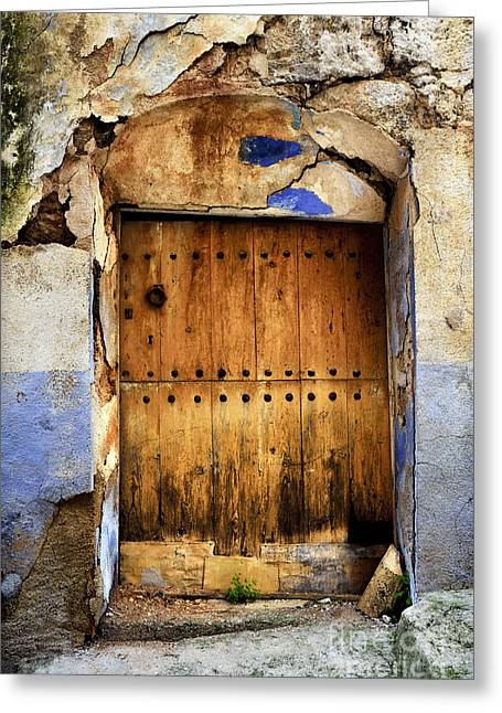 Teruel Greeting Cards - Antique brown door Greeting Card by RicardMN Photography