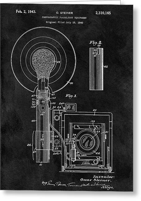 Antique Camera Flash Patent Greeting Card by Dan Sproul