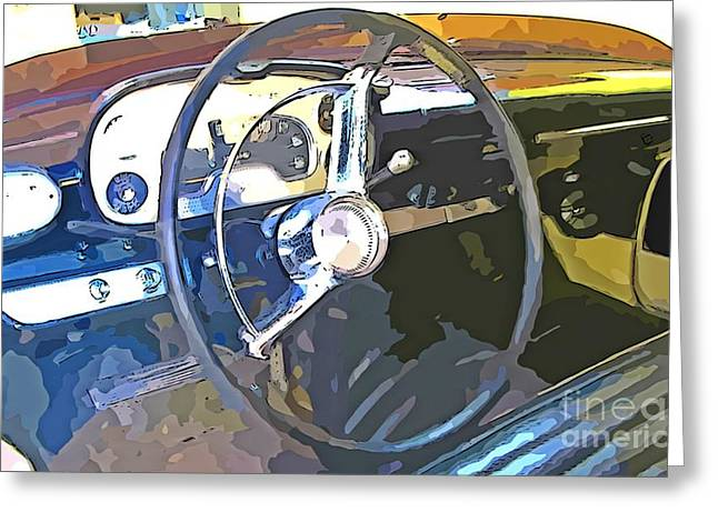 Steering Greeting Cards - Antique Car Dashboard Greeting Card by John Malone