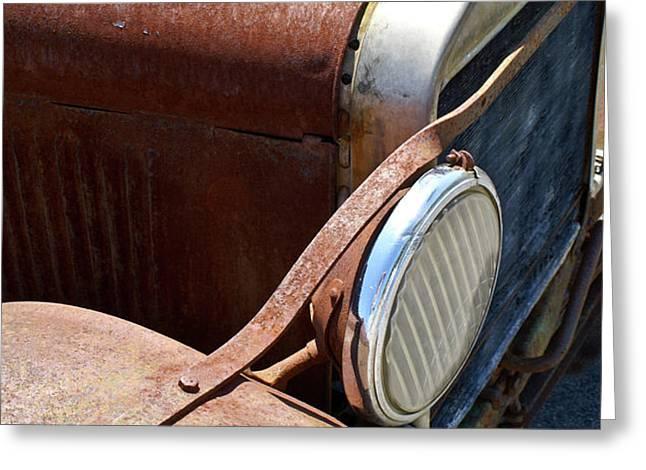 Antique Car Headlamp 2 Greeting Card by Douglas Barnett