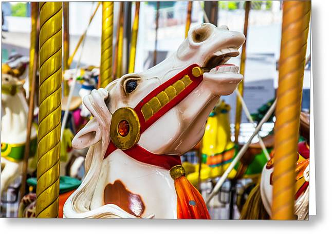 Antique Carrousel Horse Ride Greeting Card by Garry Gay