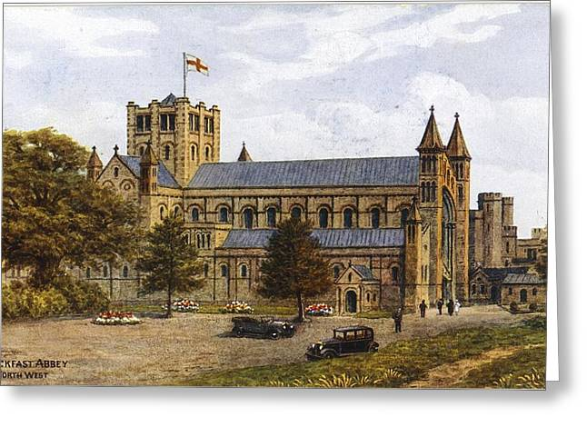 Antique Car Greeting Cards - Antique Cars In Front Of Cathedral Greeting Card by Ink and Main