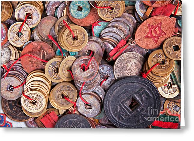 Coins Greeting Cards - Antique coins Greeting Card by Delphimages Photo Creations
