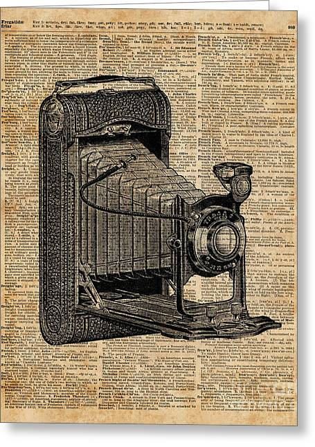 Antique Conley Camera,vintage Encyclopedia Book Page Greeting Card by Jacob Kuch