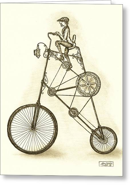 Pen And Ink Drawing Greeting Cards - Antique Contraption Greeting Card by Adam Zebediah Joseph