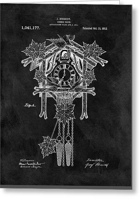 Antique Cuckoo Clock Patent Greeting Card by Dan Sproul
