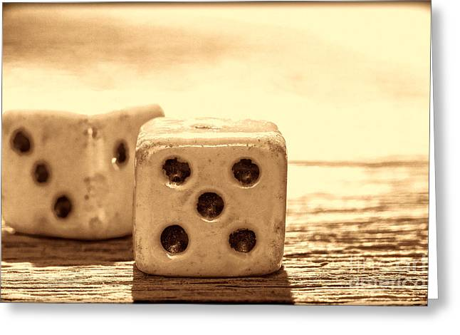 Saloons Greeting Cards - Antique Dice  Greeting Card by American West Legend By Olivier Le Queinec