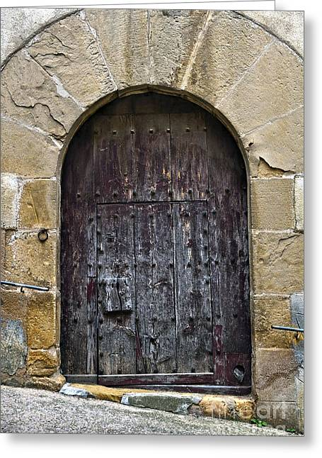 Teruel Greeting Cards - Antique door with cat flap Greeting Card by RicardMN Photography
