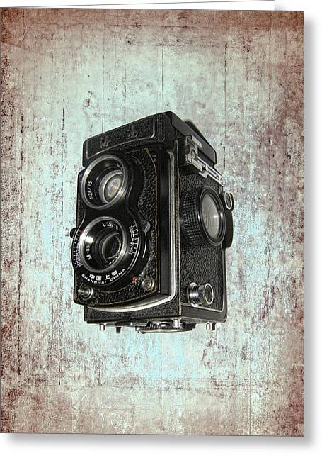 Photographers Mixed Media Greeting Cards - Antique Dual Lens Camera Greeting Card by Daniel Hagerman