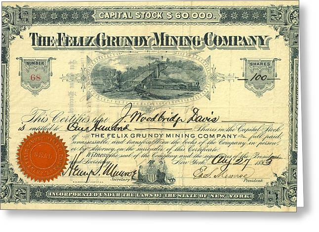 Tn Drawings Greeting Cards - Antique Felix Grundy Mining Company Stock Certificate Greeting Card by Cody Cookston