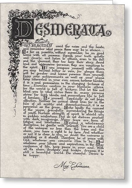Motivational Poster Drawings Greeting Cards - Antique Florentine Desiderata Poem by Max Ehrmann on Parchment Greeting Card by Desiderata Gallery
