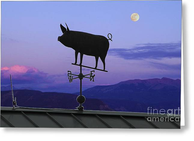 Antique Flying Pig Weathervane At Twilight Greeting Card by Dale Jackson