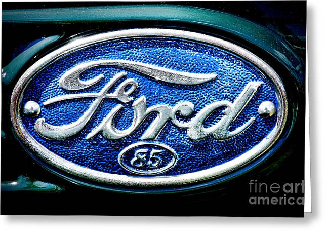 American Automobiles Greeting Cards - Antique Ford Badge Greeting Card by Olivier Le Queinec
