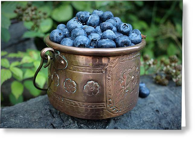 Berry Greeting Cards - Antique French Pot Full of Blueberries Greeting Card by Vicky Adams