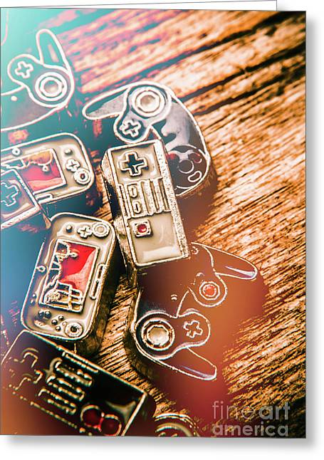 Antique Gaming Consoles Greeting Card by Jorgo Photography - Wall Art Gallery