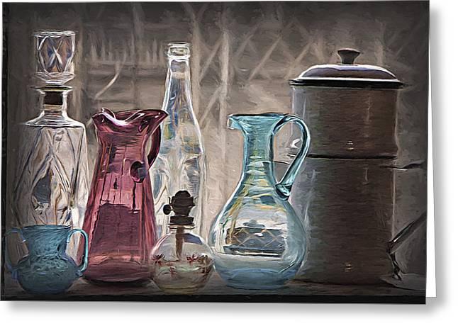 Glass Vase Greeting Cards - Antique Glassware Greeting Card by Steve Ohlsen