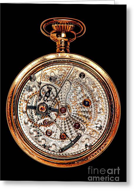 Antique Hamilton Railroad Watch Movement  Greeting Card by Olivier Le Queinec