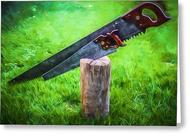 Saw Greeting Cards - Antique Hand Saws in a stump - Artistic Greeting Card by Chris Bordeleau