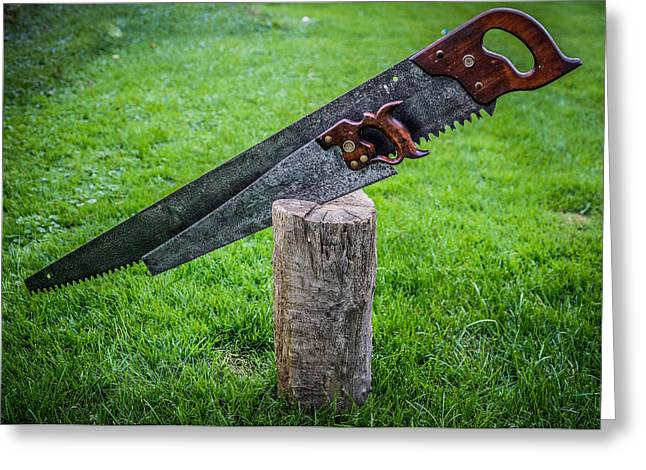 Saw Greeting Cards - Antique Hand Saws in a stump Greeting Card by Chris Bordeleau