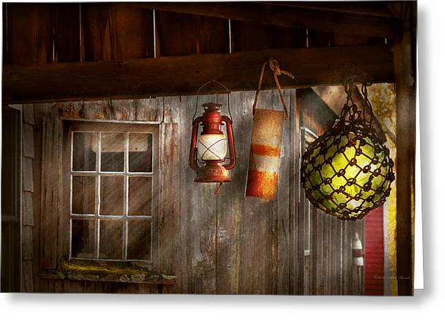 Antique - Hanging Around Greeting Card by Mike Savad