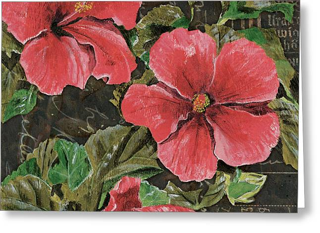 Blossoms Mixed Media Greeting Cards - Antique Hibiscus Black 2 Greeting Card by Debbie DeWitt