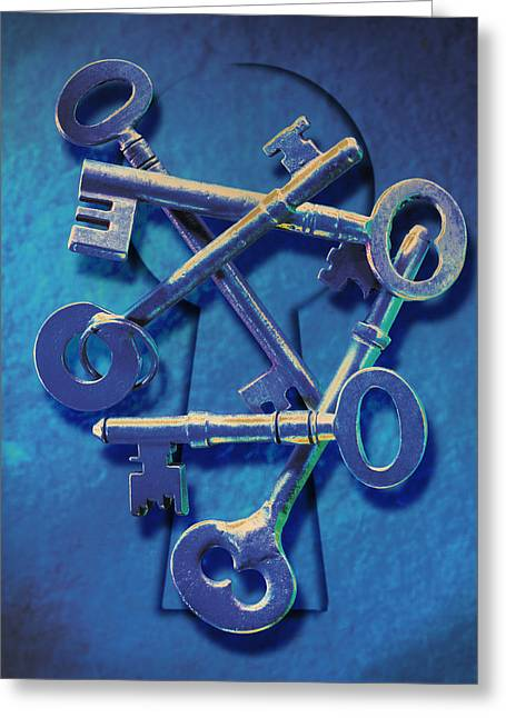 Key Greeting Cards - Antique Keys Greeting Card by Kelley King