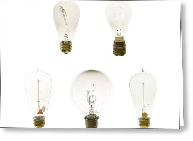 Brass Fittings Greeting Cards - Antique Lightbulbs Greeting Card by Jennifer Booher
