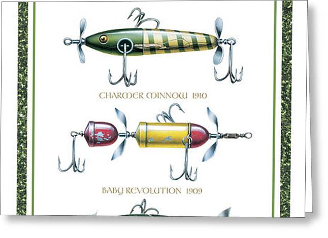 Antique Lure Panel Greeting Card by JQ Licensing