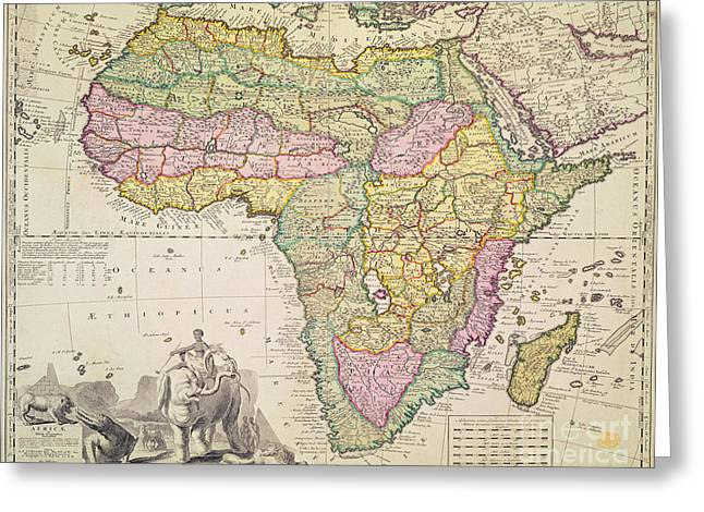 Historic Drawings Greeting Cards - Antique Map of Africa Greeting Card by Pieter Schenk