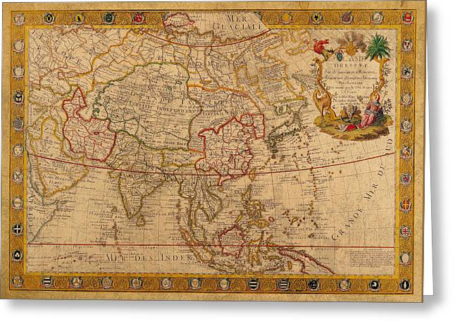 Vintage Map Canvas Greeting Cards - Antique Map of Asia 1732 Vintage on Worn Canvas Greeting Card by Design Turnpike