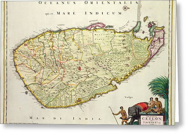 Ceylon Greeting Cards - Antique Map of Ceylon Greeting Card by Nicolas Visscher