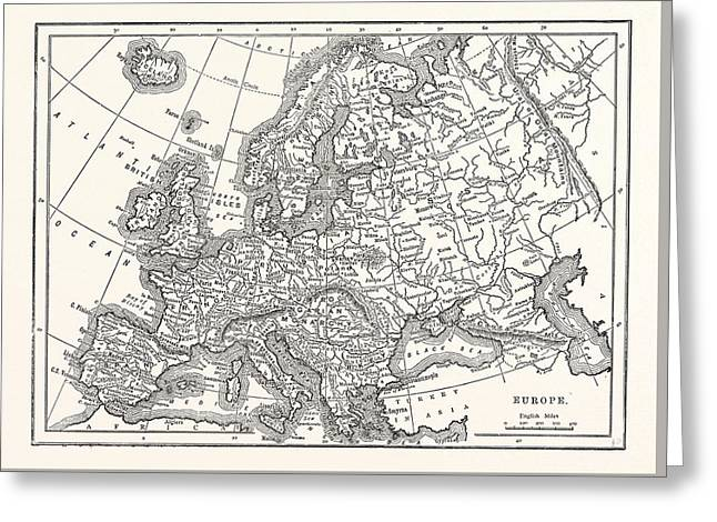 Antique Map Of Europe Greeting Card by English School