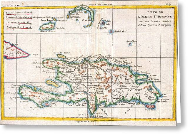 Hispaniola Greeting Cards - Antique Map of Hispaniola West Indies Greeting Card by Celestial Images