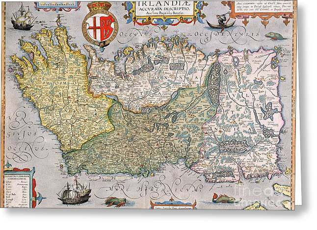 Antique Map of Ireland Greeting Card by  English School