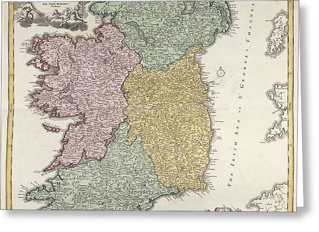 Antique Map of Ireland showing the Provinces Greeting Card by Johann Baptist Homann