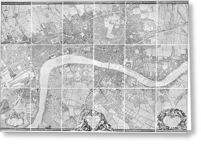 Old Town Drawings Greeting Cards - Antique Map of London Greeting Card by John Rocque
