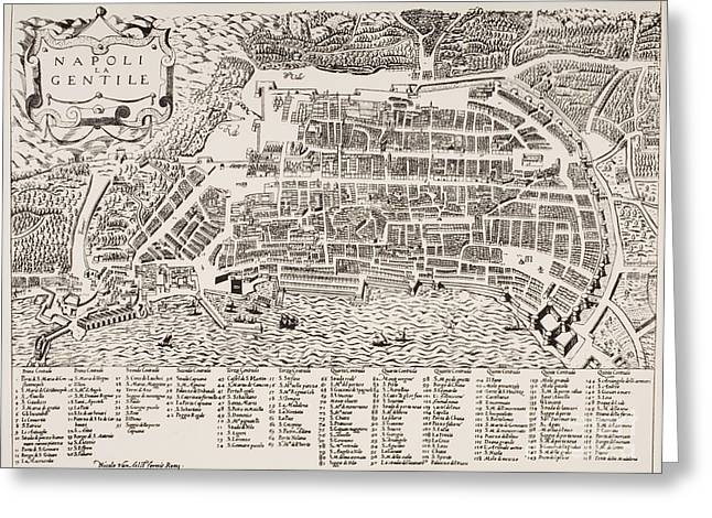 Locations Paintings Greeting Cards - Antique Map of Naples Greeting Card by Italian School