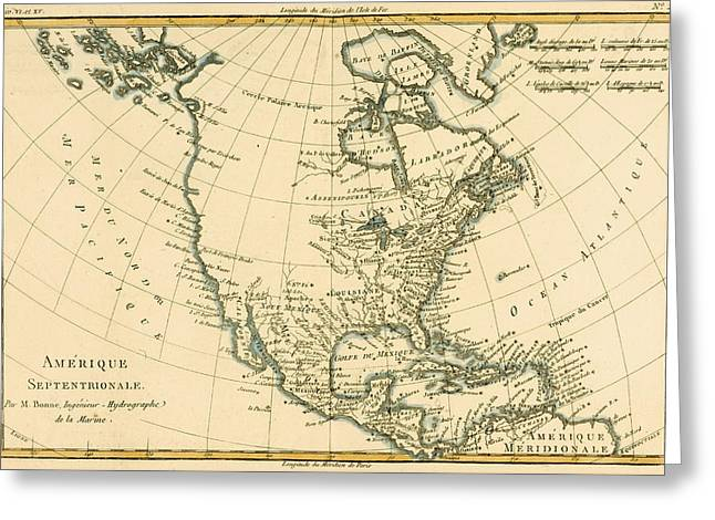 Historic Drawings Greeting Cards - Antique Map of North America Greeting Card by Guillaume Raynal