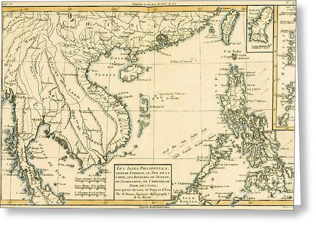 Border Drawings Greeting Cards - Antique Map of South East Asia Greeting Card by Guillaume Raynal