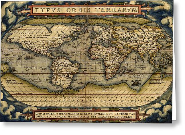Olive Green Greeting Cards - Antique Map Of The World By Abraham Ortelius - 1564 Greeting Card by Marianna Mills