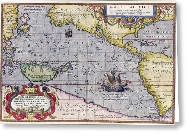 Olive Green Greeting Cards - Antique Map Of The World By Abraham Ortelius - 1589 Greeting Card by Marianna Mills