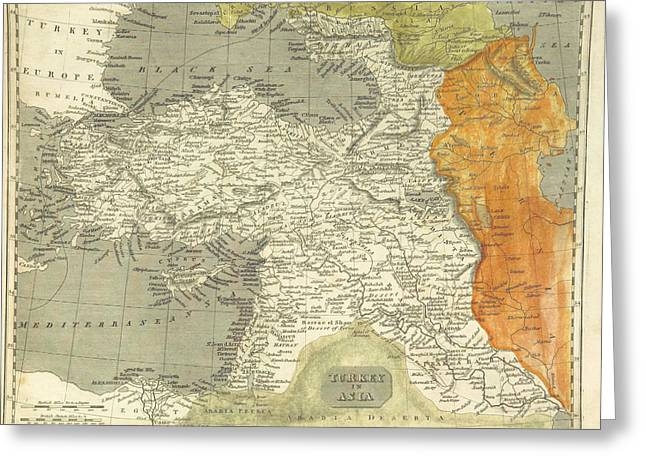 Antique Map Paintings Greeting Cards - Antique map of Turkey Greeting Card by Celestial Images