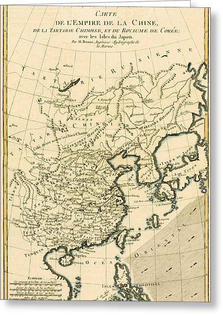 Asia Drawings Greeting Cards - Antique Map The Chinese Empire Greeting Card by Guillaume Raynal