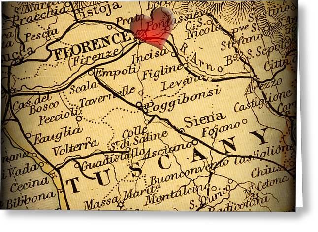 Border Photographs Greeting Cards - Antique Map with a Heart over the city of Florence in Italy Greeting Card by ELITE IMAGE photography By Chad McDermott