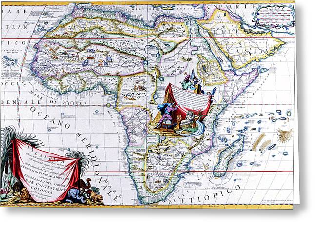 Antique Maps Of The World Map Of Africa Vincenzo Coronelli C 1692 Greeting Card by R Muirhead Art